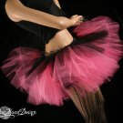 Layered two tone gothic adult dance tutu Black and pink Small