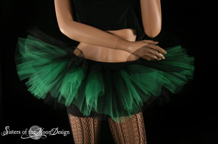 Peek a boo mini black and green tutu skirt Adult Medium
