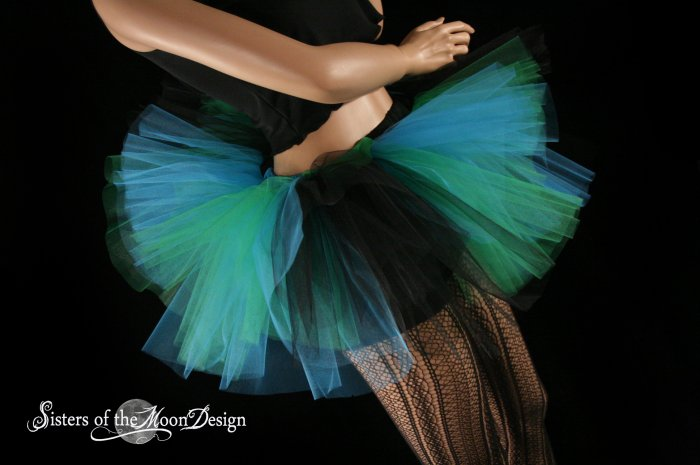 Triple Threat Two tier tutu black turquoise and green Adult Medium