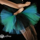 Triple Threat Two tier tutu black turquoise and green Adult Large