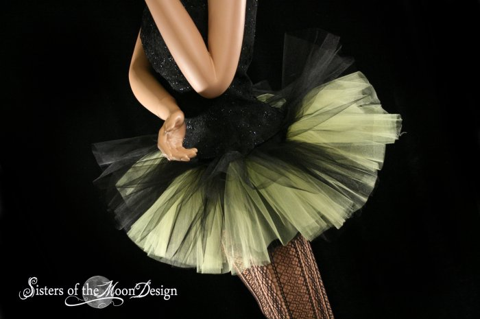 Peek a boo mini black and yellow tutu skirt Adult Medium