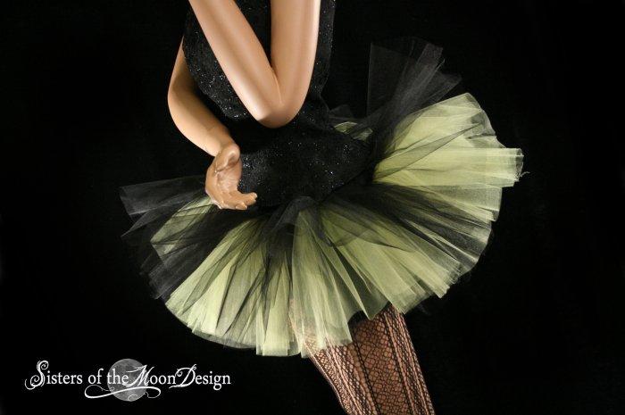 Peek a boo mini black and yellow tutu skirt Adult XLarge-Plus
