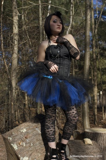Layered two tone gothic adult dance tutu Black and royal blue Large