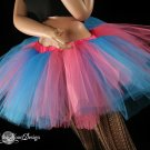 Bubble gum turquoise and pink Monster dance tutu Adult petticoat XLarge-Plus