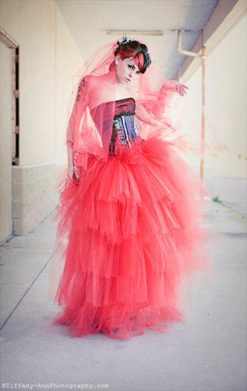 Medium Lydia styled red layered romantic prom skirt petticoat