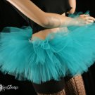 Mini teal Peek a boo mini tutu skirt Adult Medium