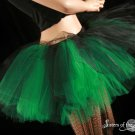 Black and green Layered two tone gothic adult dance tutu Medium
