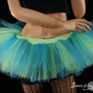 Medium Peek a boo mini turquoise and neon citrus tutu skirt Adult