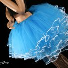 Small adult tutu skirt turquoise Ice Queen white trimmed huge poofy