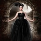 Small Streamer floor length tutu skirt formal black adult bridal wedding prom