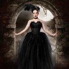 large Streamer floor length tutu skirt formal black adult bridal wedding prom