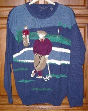 Northern Isles Vintage Golf Scene Sweater Large