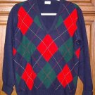 Neiman Marcus 100% Cashmere Navy Argyle sweater Medium