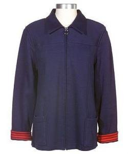 Susan Graver Zip Front Jacket with Striped Trim Medium