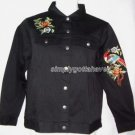 Yi Lin Chinese Embroidered Stretch Black Denim Shirt Jacket Medium