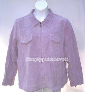 Denim & Co. Washable Suede Zip Front Jacket Medium