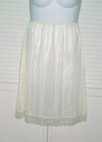 Half Slip Plus Size 1X New Ivory Lacey edge, 13 inch slit Vintage Sliperfection
