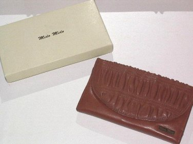 Mido Mido Ruched Leather Wallet from Italy