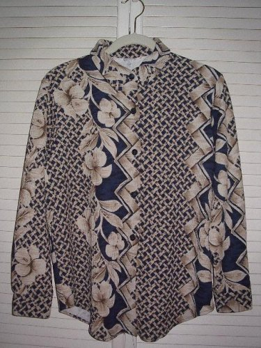 Simply Susan Ethnic Floral Print Blouse Long sleeve Medium* Easily toteable!