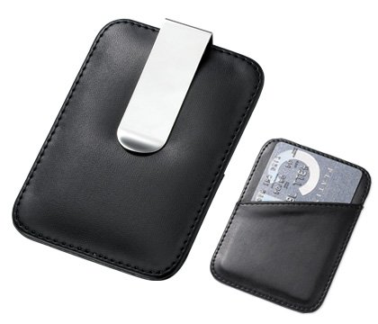 Black Leather Dual Function Credit Card Holder Money Clip