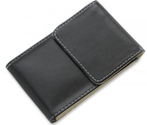 BRAND NEW Black Leather Stitchie Business Card Holder