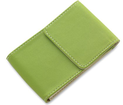 BRAND NEW Green Leather Stitchie Card Case