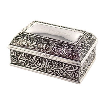 Silver Plated Floral Jewelry Chest and Trinket Box Brand New