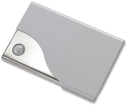 Silver BUsiness ID Credit Card Case Holder Golf Design BRAND NEW