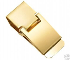 Classic Gold Polished Hinged Money Clip BRAND NEW