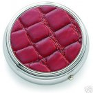 Round Red and Silver Push Button Open Pill Box