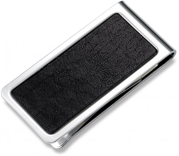 Genuine Black Leather and Chrome Money Clip