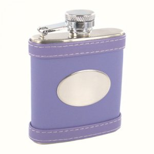 Purple Leather Pocket Flask Personalize!