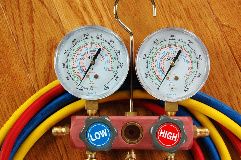 "R410s Manifold+5' High Pressure EPA Applied Low-loss Hose set 5/16"" fittings"