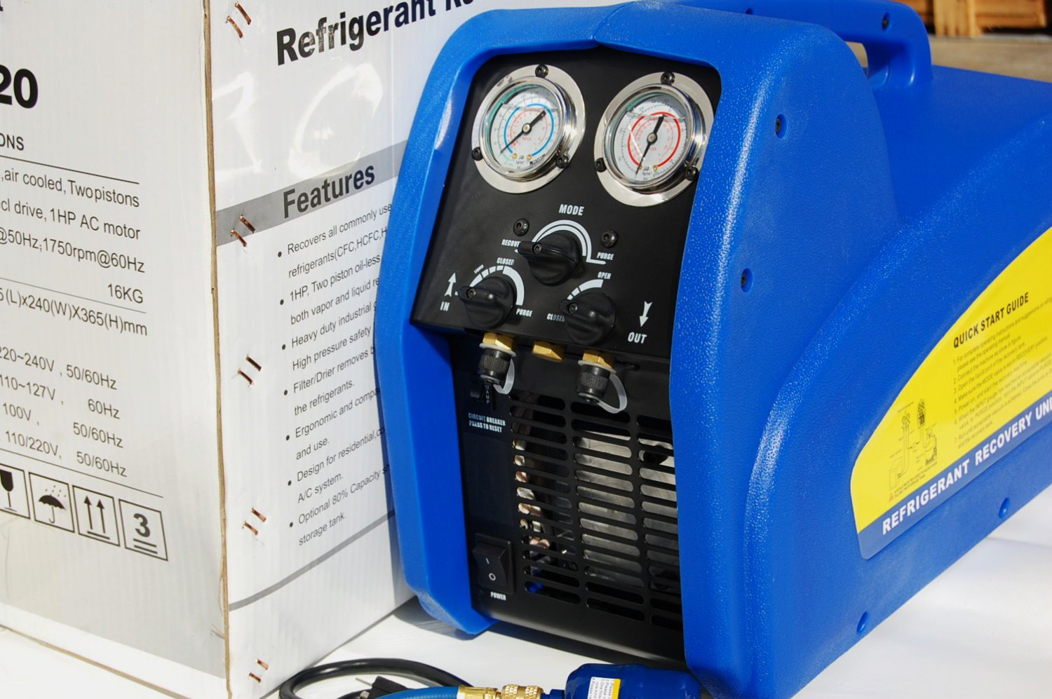 Refrigerant Recovery Unit 1Hp Motor twin-piston push-pull oil-less Oil-free compressor Fast Rate