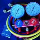 """2-Way Manifold for R410A R22 R134a 5'Hose set 1/4"""" flare Fittings"""