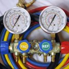 New Design:4-Way Manifold Gauge Set+5ft Hose Set & 3ft 3/8 Vacuum R410a R22 R134a and R404a