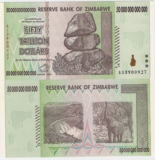 Zimbabwe banknote 2008 Z$50 trillion UNC AA prefix