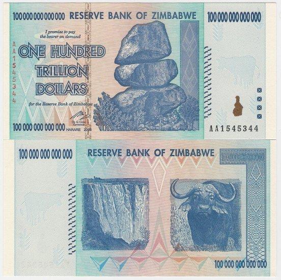 Zimbabwe banknote 2008 Z$100 trillion UNC AA prefix