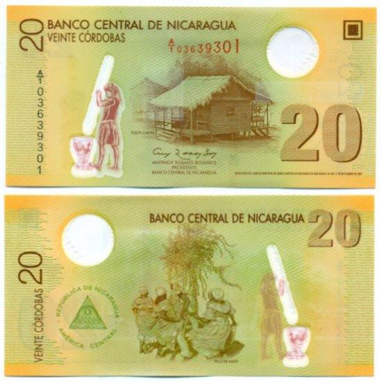 Nicaragua banknote 2009 20 cordobas UNC POLYMER A PREFIX