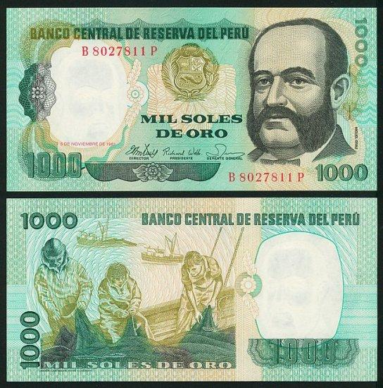 Peru banknote 1981 1000 soles de oro UNC