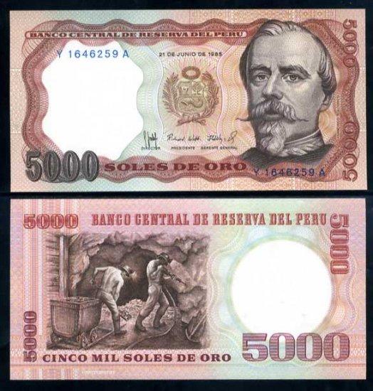 Peru banknote 1985 5000 soles de oro UNC