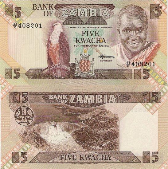 Zambia banknote ND (1986) 5 kwacha UNC