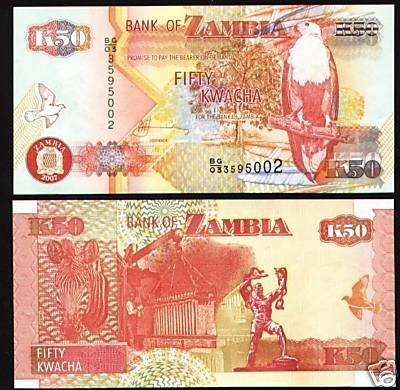 Zambia banknote 2007 50 kwacha UNC
