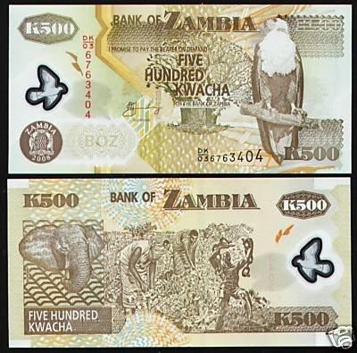 Zambia banknote 2008 500 kwacha POLYMER UNC
