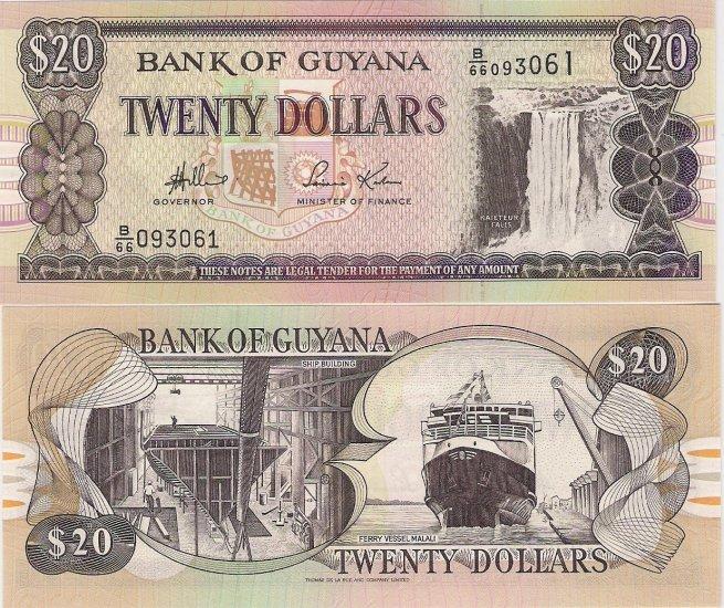 Guyana banknote ND (1989) 20 dollars UNC