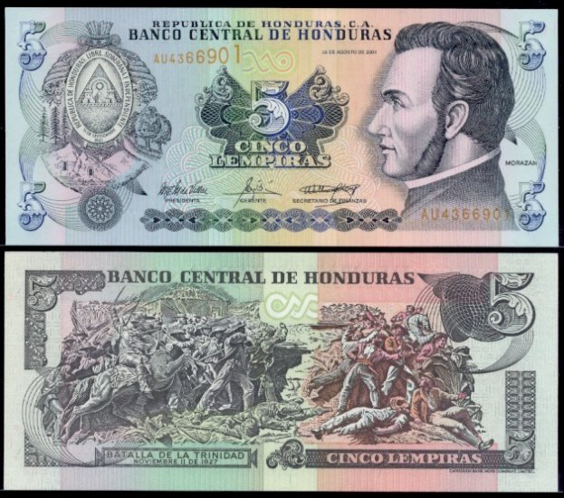 Honduras banknote 2004 5 lempiras UNC