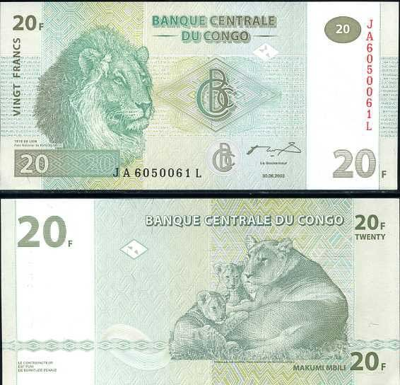 Congo banknote 2003 20 francs UNC