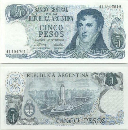 Argentina banknote 1974-76 5 pesos UNC