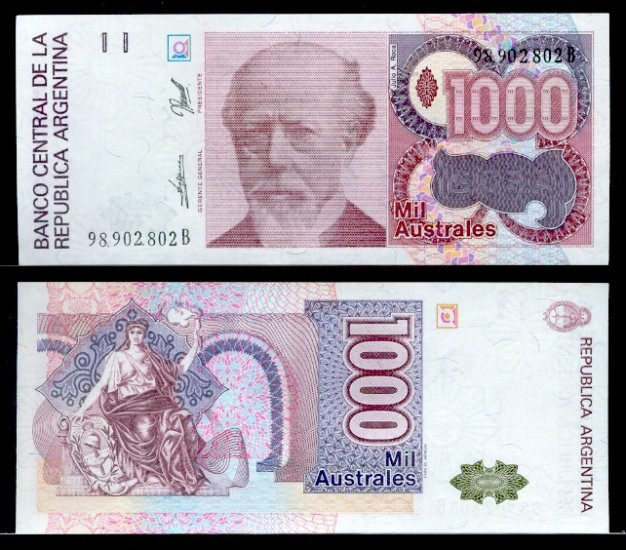 Argentina banknote ND 1000 austral UNC