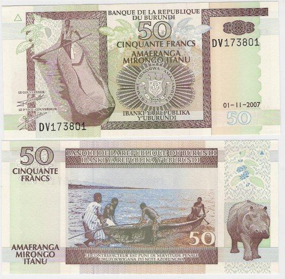 Burundi banknote 2007 50 francs UNC